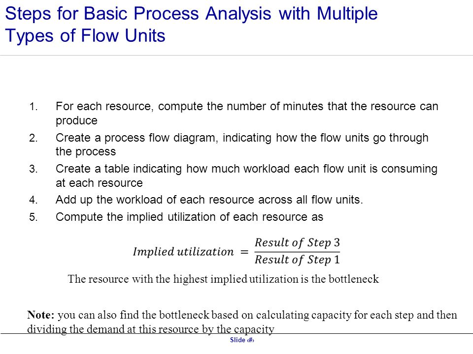 Slide 10 Steps for Basic Process Analysis with Multiple Types of Flow Units 1.