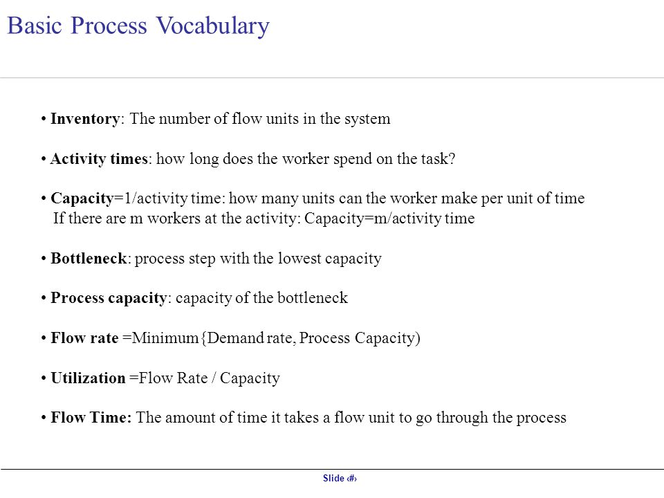 Slide 3 Basic Process Vocabulary Inventory: The number of flow units in the system Activity times: how long does the worker spend on the task.