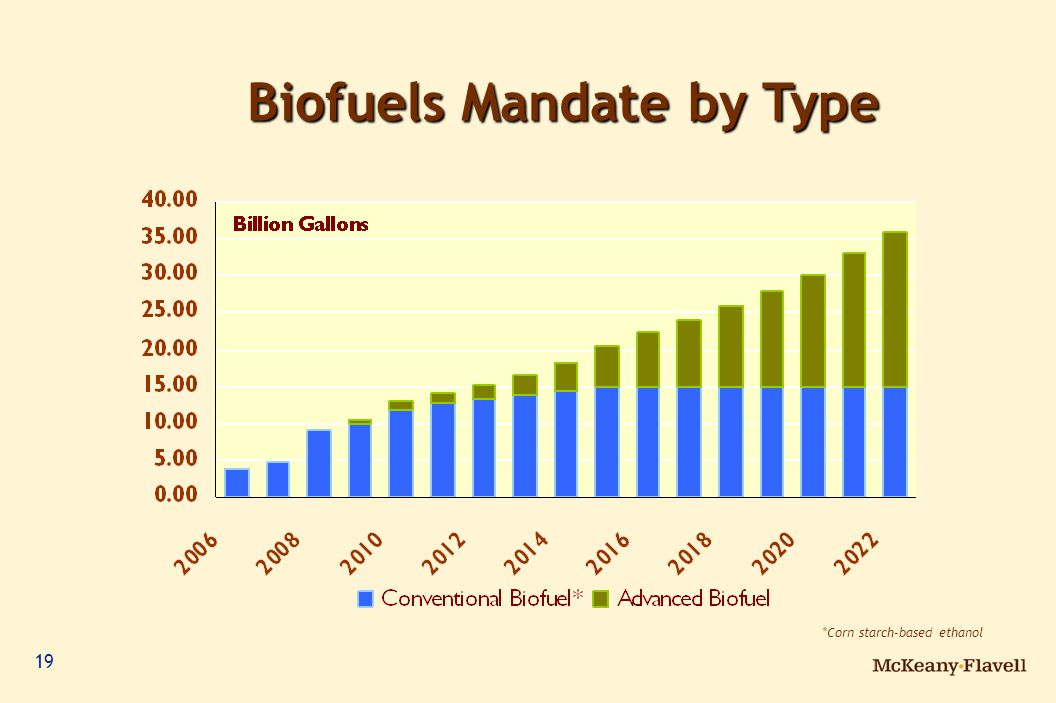 19 *Corn starch-based ethanol Biofuels Mandate by Type