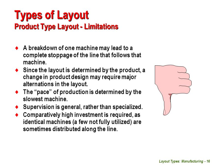 Layout Types: Manufacturing - 16  A breakdown of one machine may lead to a complete stoppage of the line that follows that machine.  Since the layou