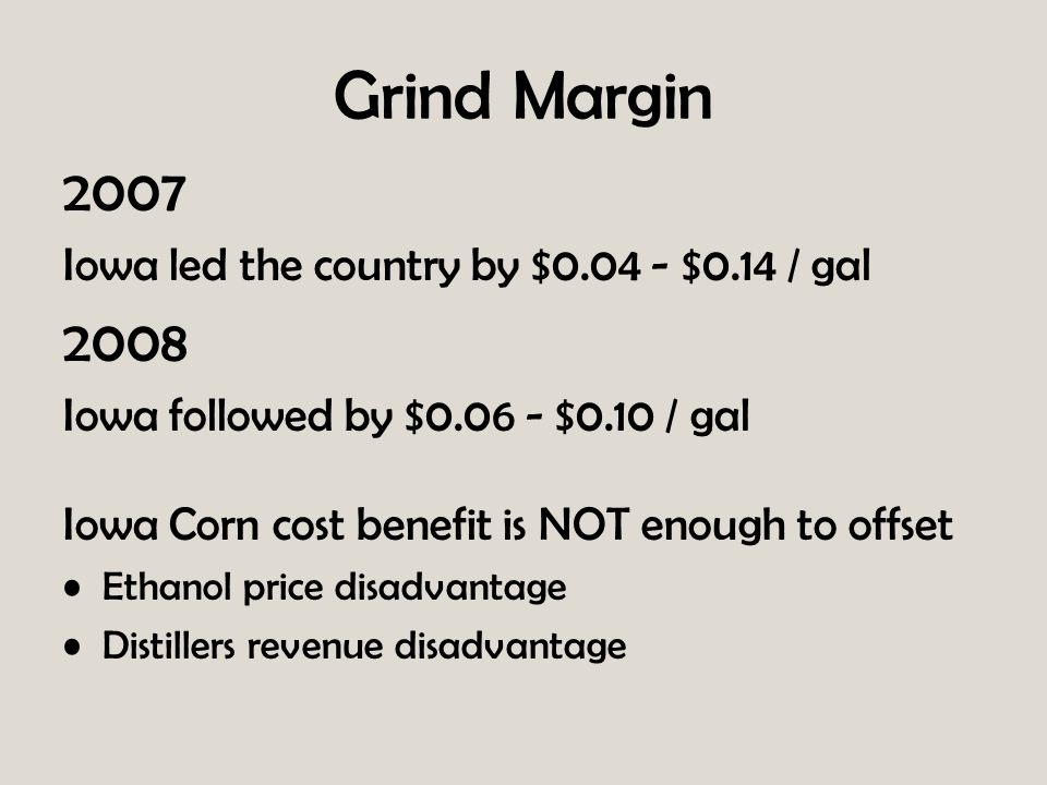 Grind Margin 2007 Iowa led the country by $0.04 - $0.14 / gal 2008 Iowa followed by $0.06 - $0.10 / gal Iowa Corn cost benefit is NOT enough to offset Ethanol price disadvantage Distillers revenue disadvantage
