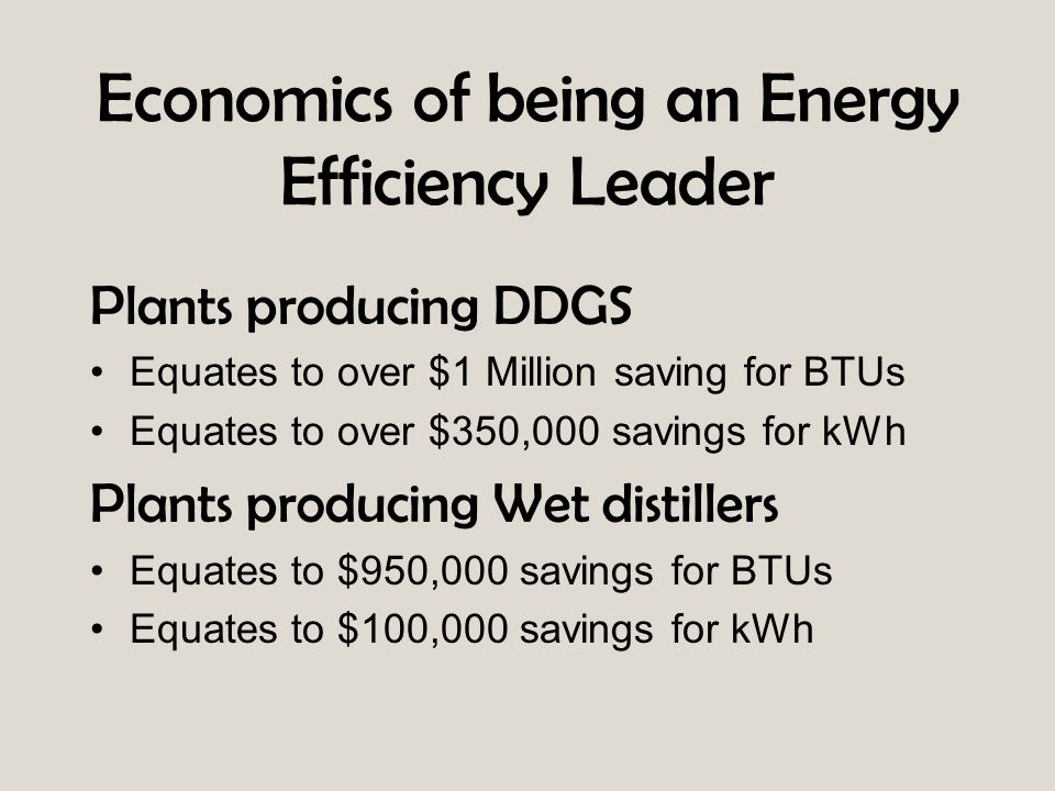 Economics of being an Energy Efficiency Leader Plants producing DDGS Equates to over $1 Million saving for BTUs Equates to over $350,000 savings for k