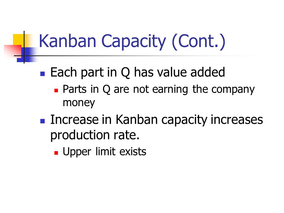 Kanban Capacity (Cont.) Each part in Q has value added Parts in Q are not earning the company money Increase in Kanban capacity increases production rate.