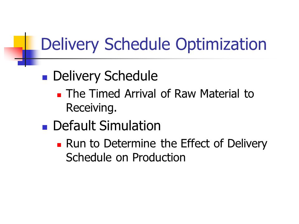 Delivery Schedule Optimization Delivery Schedule The Timed Arrival of Raw Material to Receiving.