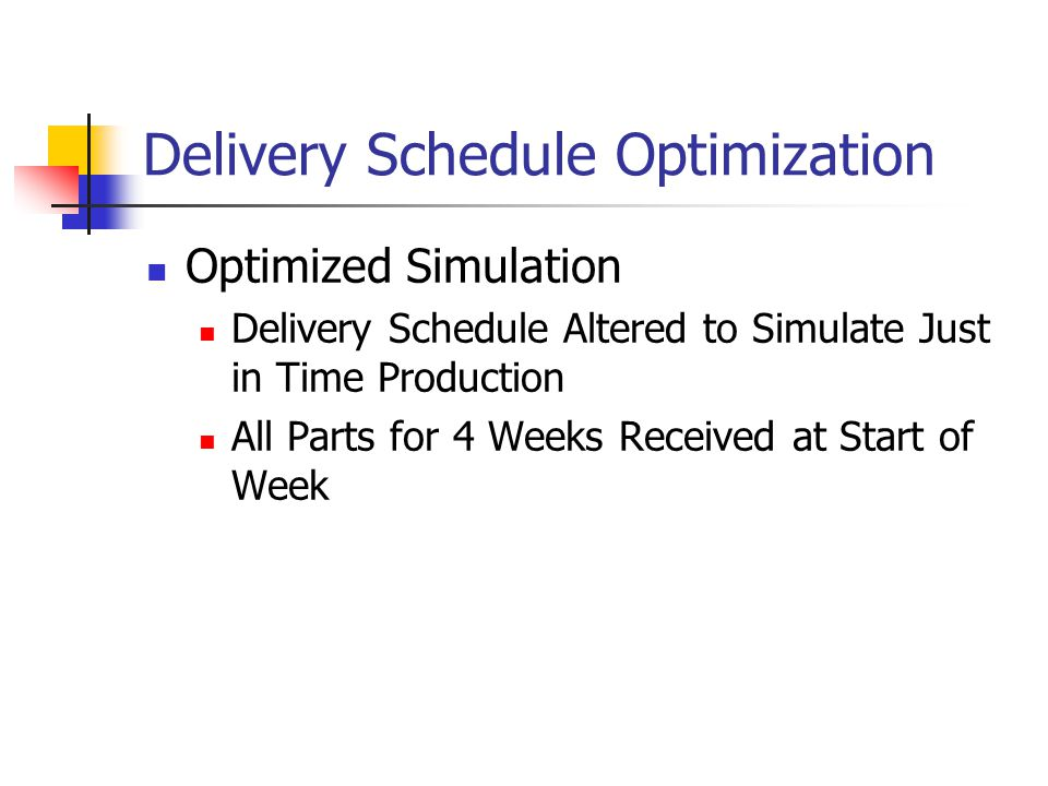 Delivery Schedule Optimization Optimized Simulation Delivery Schedule Altered to Simulate Just in Time Production All Parts for 4 Weeks Received at Start of Week