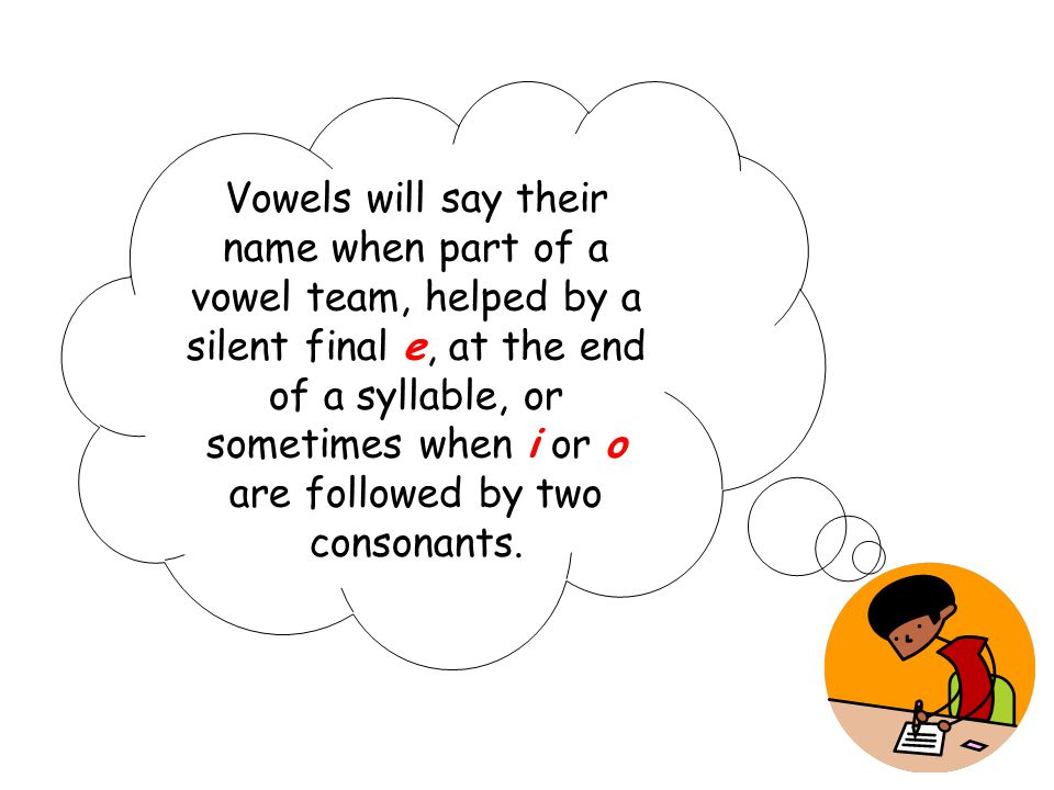 Vowels will say their name when part of a vowel team, helped by a silent final e, at the end of a syllable, or sometimes when i or o are followed by t