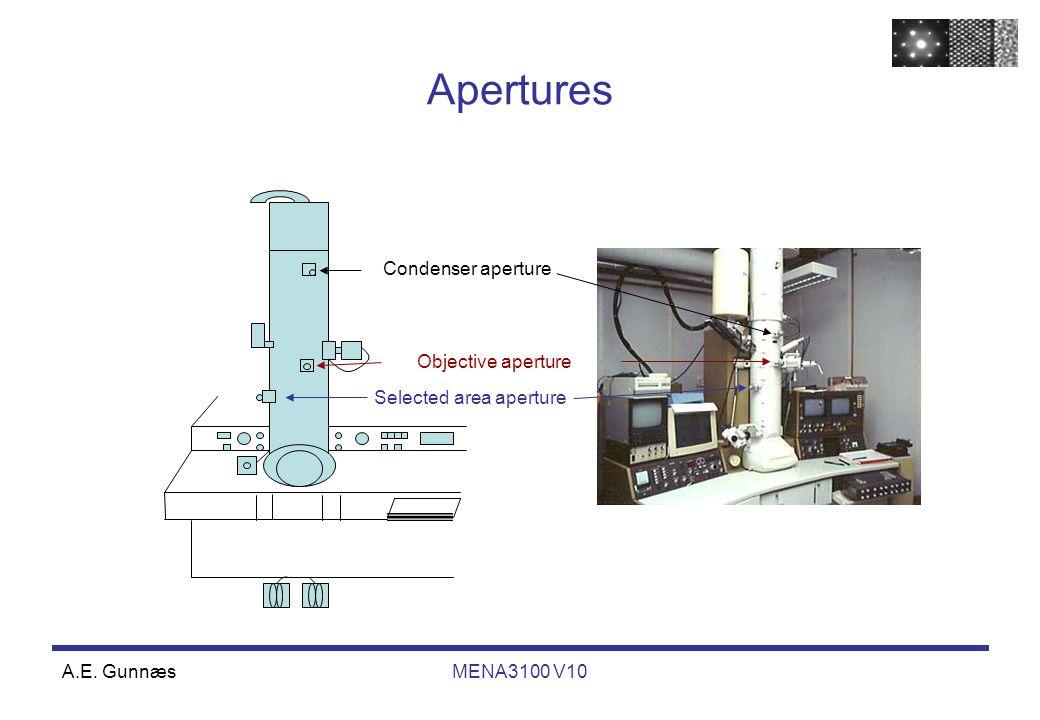 A.E. GunnæsMENA3100 V10 Apertures Selected area aperture Condenser aperture Objective aperture