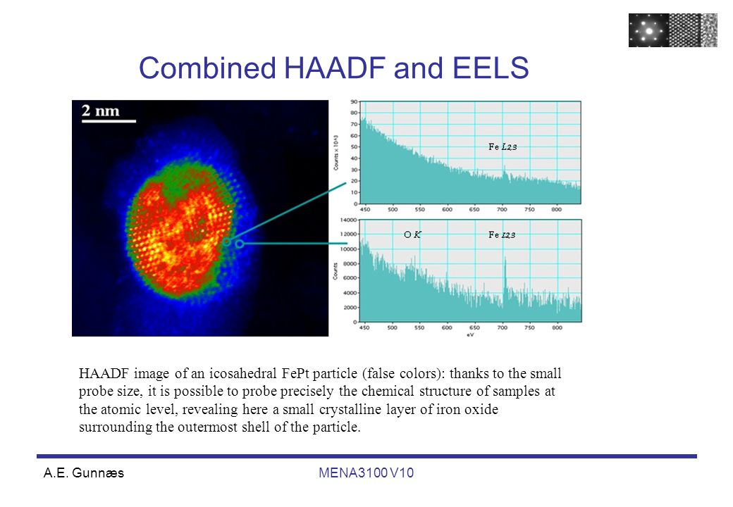 A.E. GunnæsMENA3100 V10 HAADF image of an icosahedral FePt particle (false colors): thanks to the small probe size, it is possible to probe precisely