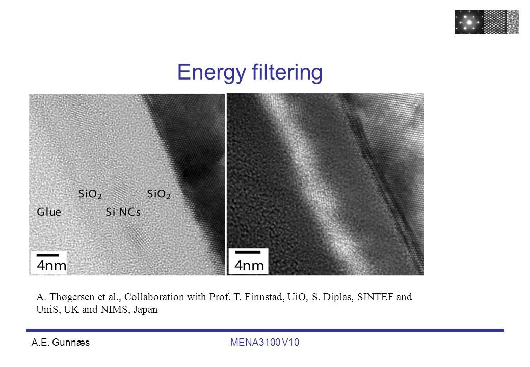 A.E. GunnæsMENA3100 V10 Energy filtering A. Thøgersen et al., Collaboration with Prof. T. Finnstad, UiO, S. Diplas, SINTEF and UniS, UK and NIMS, Japa
