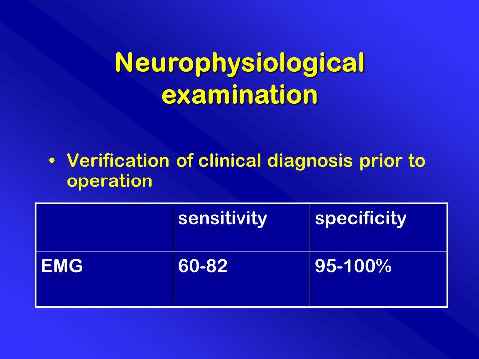 Neurophysiological examination sensitivityspecificity EMG60-8295-100% Verification of clinical diagnosis prior to operation