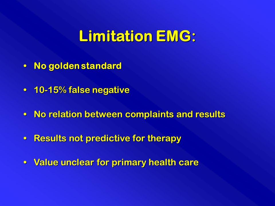 Limitation EMG: No golden standardNo golden standard 10-15% false negative10-15% false negative No relation between complaints and resultsNo relation