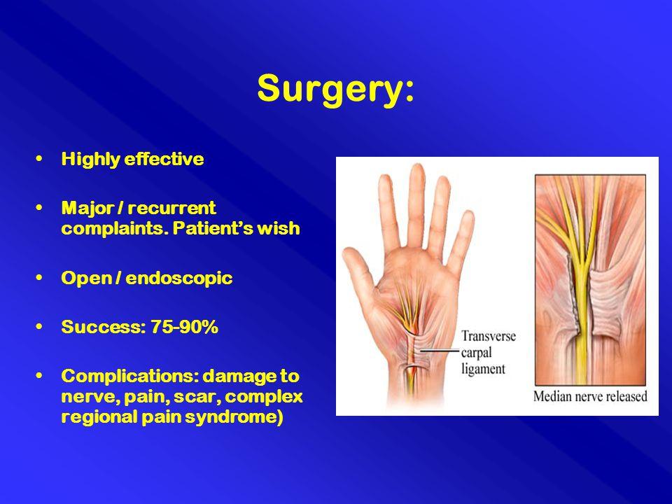 Surgery: Highly effective Major / recurrent complaints. Patient's wish Open / endoscopic Success: 75-90% Complications: damage to nerve, pain, scar, c