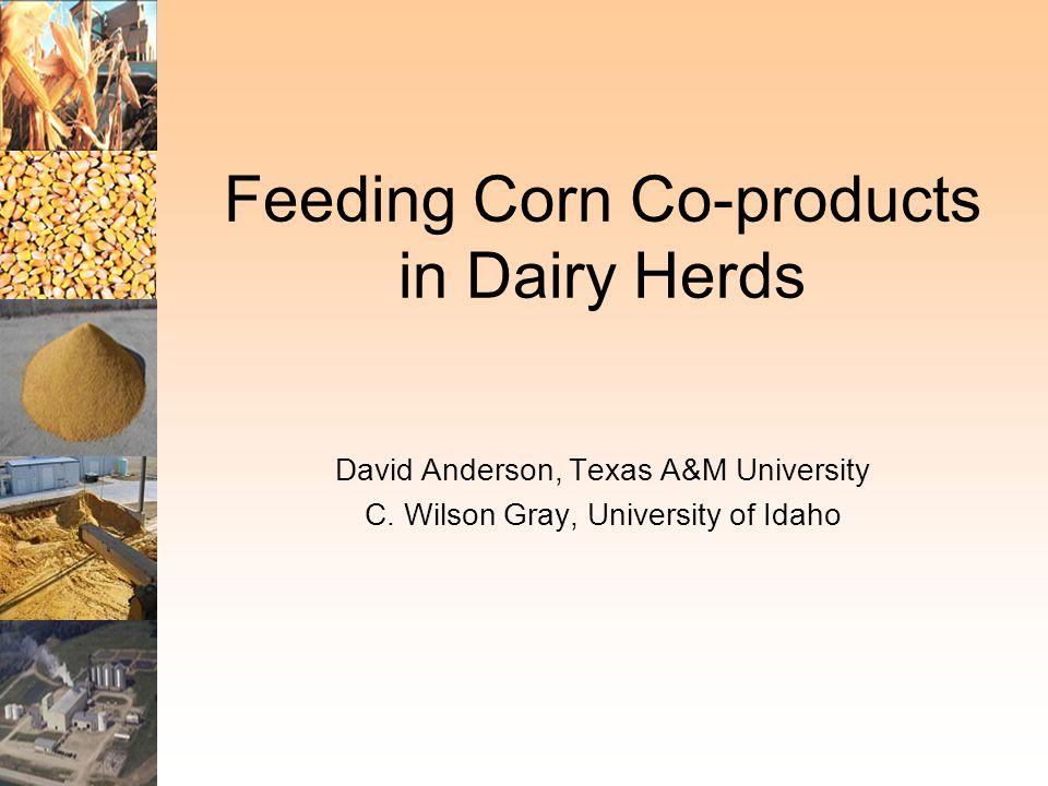 David Anderson, Texas A&M University C. Wilson Gray, University of Idaho Feeding Corn Co-products in Dairy Herds