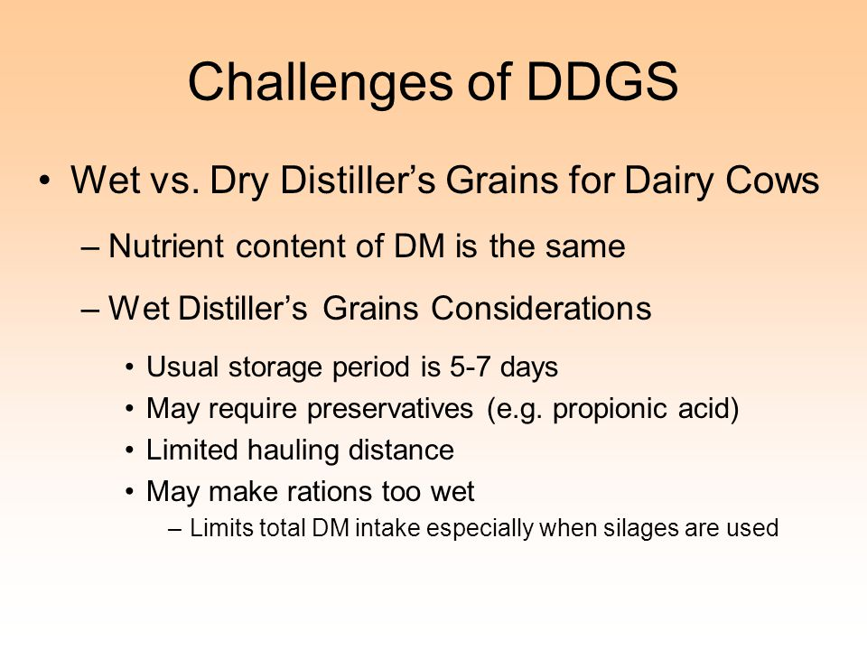 Challenges of DDGS Wet vs. Dry Distiller's Grains for Dairy Cows –Nutrient content of DM is the same –Wet Distiller's Grains Considerations Usual stor