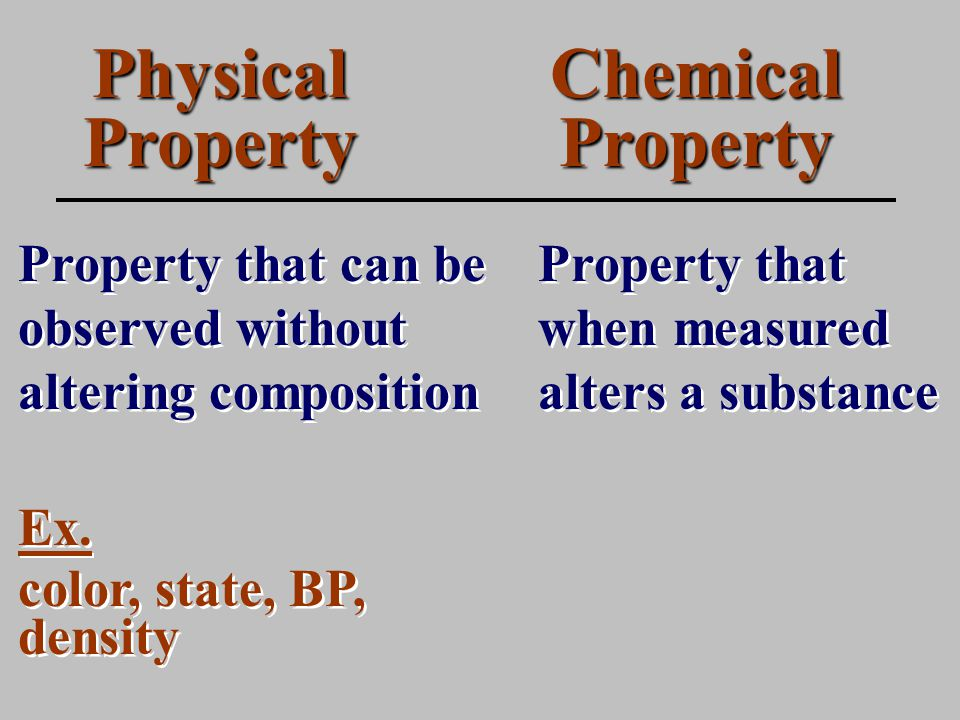Physical Property Property that can be observed without altering composition Chemical Property Property that when measured alters a substance Ex.
