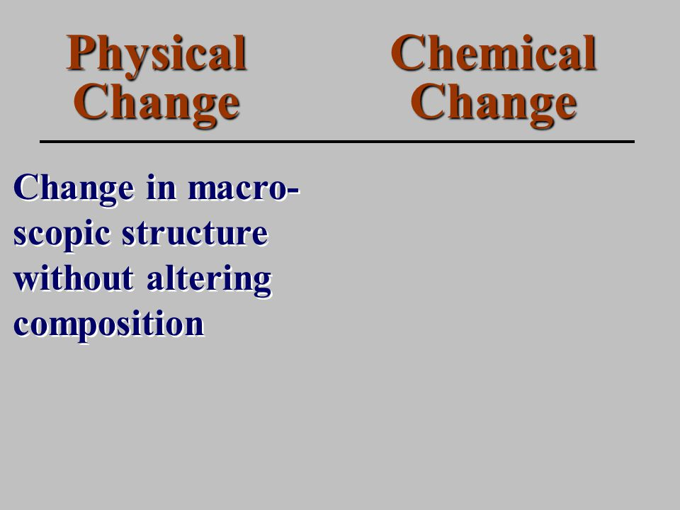 Physical Change Change in macro- scopic structure without altering composition Chemical Change