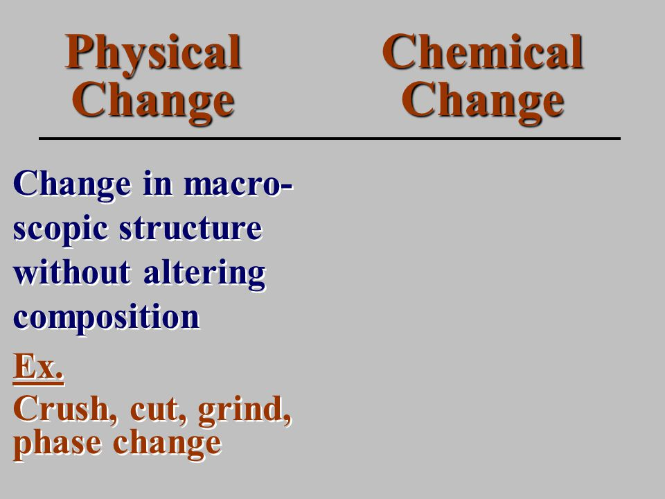 Physical Change Change in macro- scopic structure without altering composition Chemical Change Ex.