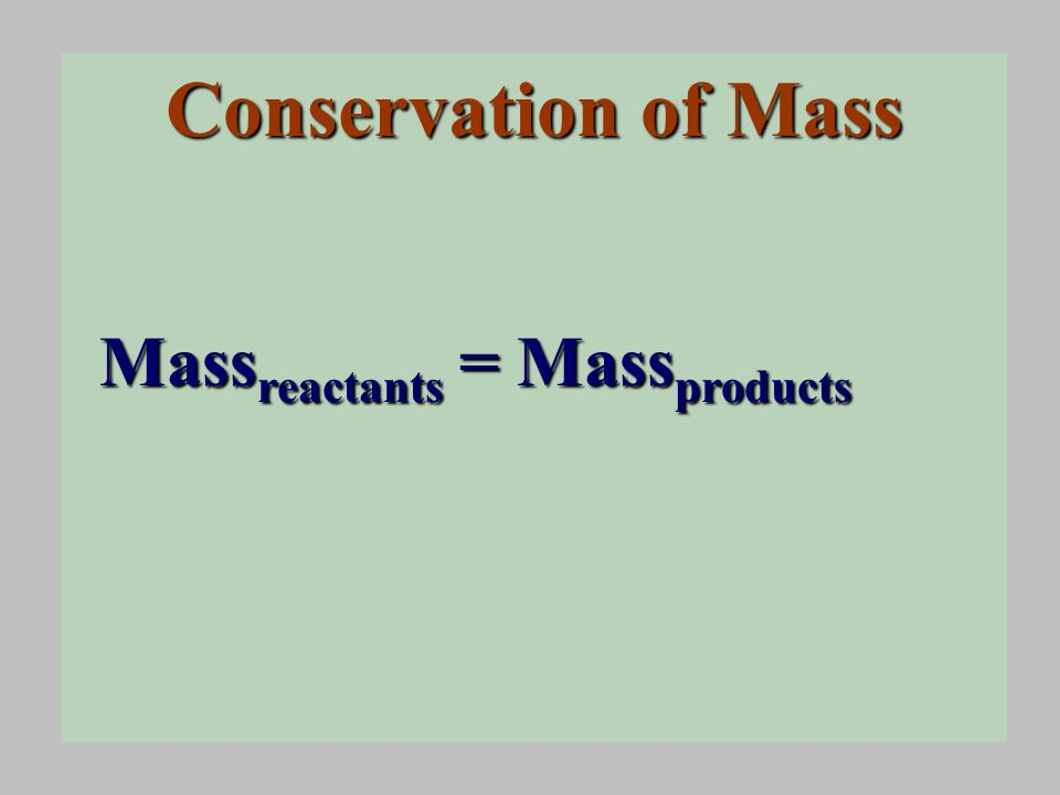 Conservation of Mass Mass reactants = Mass products