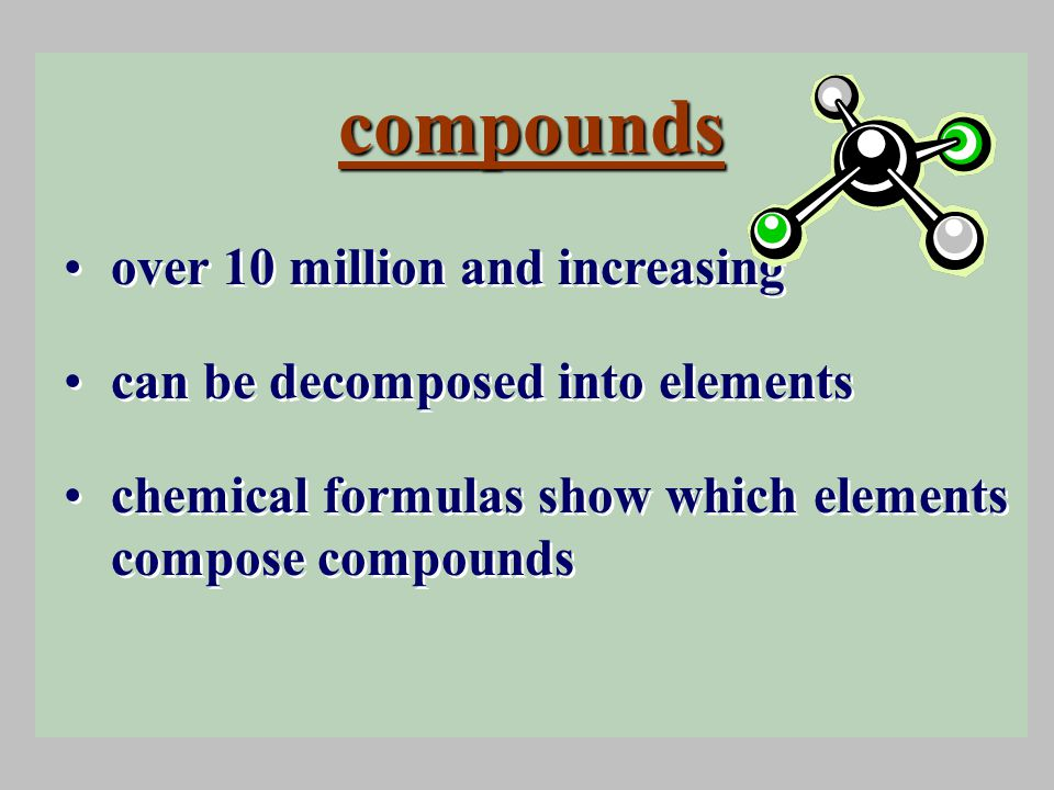 compounds over 10 million and increasing can be decomposed into elements chemical formulas show which elements compose compounds over 10 million and increasing can be decomposed into elements chemical formulas show which elements compose compounds
