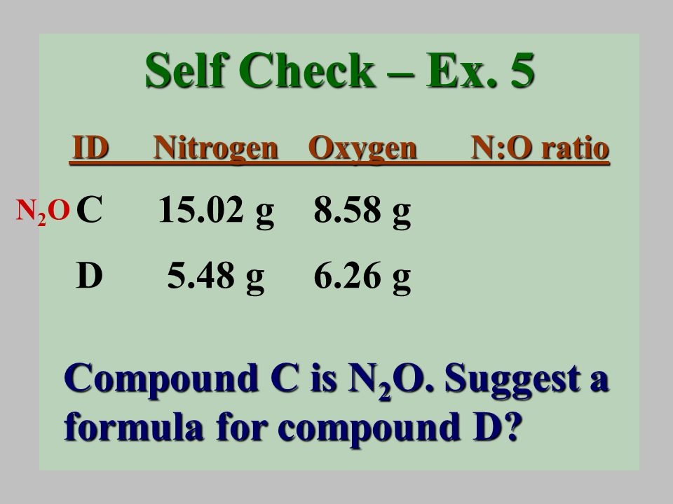 Self Check – Ex. 5 Compound C is N 2 O. Suggest a formula for compound D.