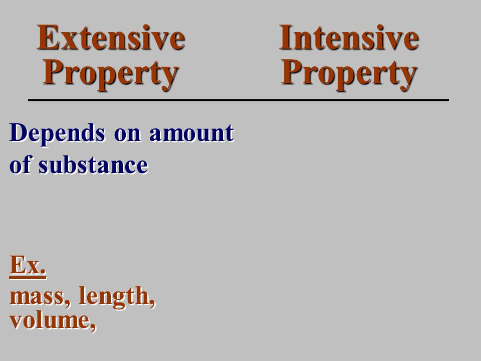 Extensive Property Depends on amount of substance Intensive Property Ex.
