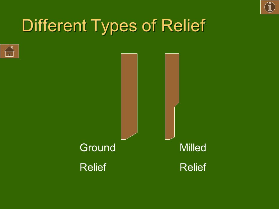 Different Types of Relief Milled Relief Ground Relief