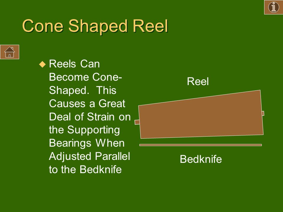 Cone Shaped Reel u Reels Can Become Cone- Shaped. This Causes a Great Deal of Strain on the Supporting Bearings When Adjusted Parallel to the Bedknife