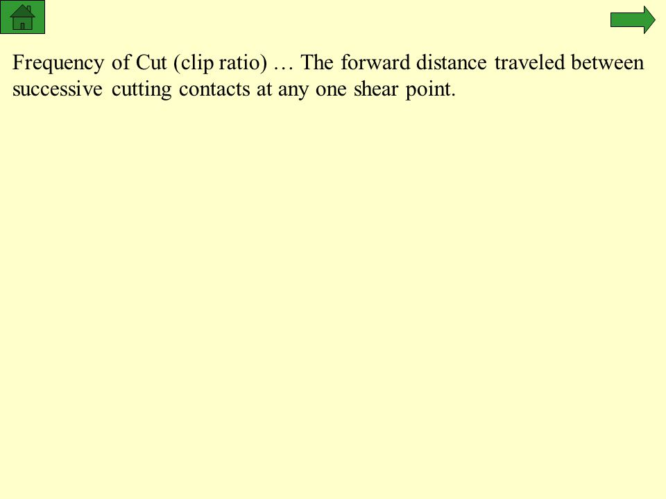 Frequency of Cut (clip ratio) … The forward distance traveled between successive cutting contacts at any one shear point.