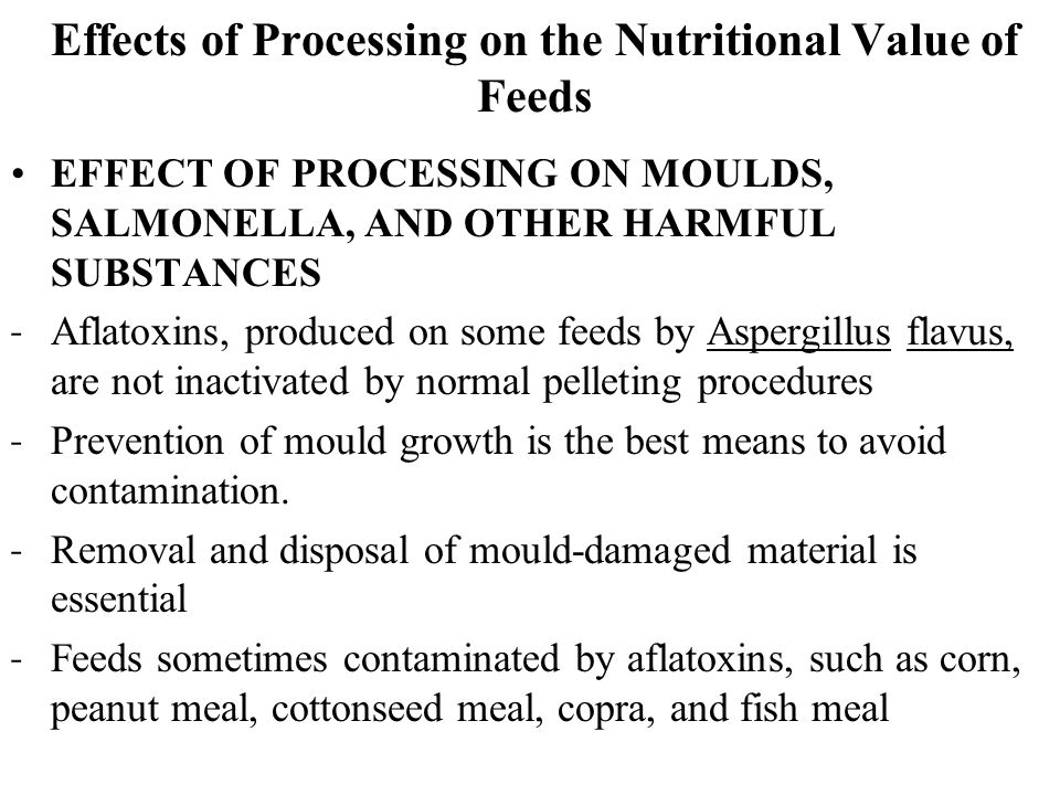 Effects of Processing on the Nutritional Value of Feeds EFFECT OF PROCESSING ON MOULDS, SALMONELLA, AND OTHER HARMFUL SUBSTANCES ˗ Aflatoxins, produced on some feeds by Aspergillus flavus, are not inactivated by normal pelleting procedures ˗ Prevention of mould growth is the best means to avoid contamination.