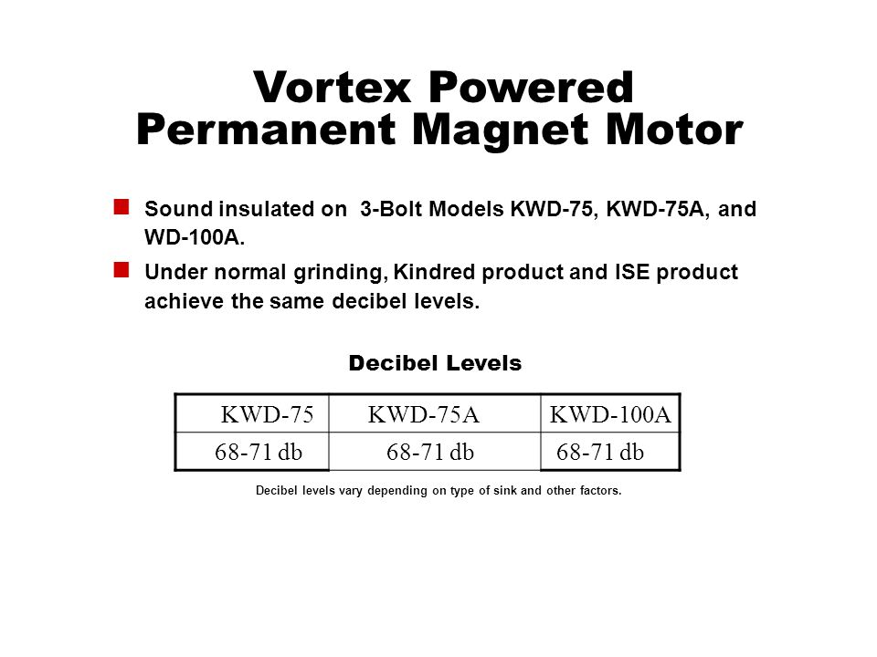 Vortex Powered Permanent Magnet Motor Sound insulated on 3-Bolt Models KWD-75, KWD-75A, and WD-100A. Under normal grinding, Kindred product and ISE pr