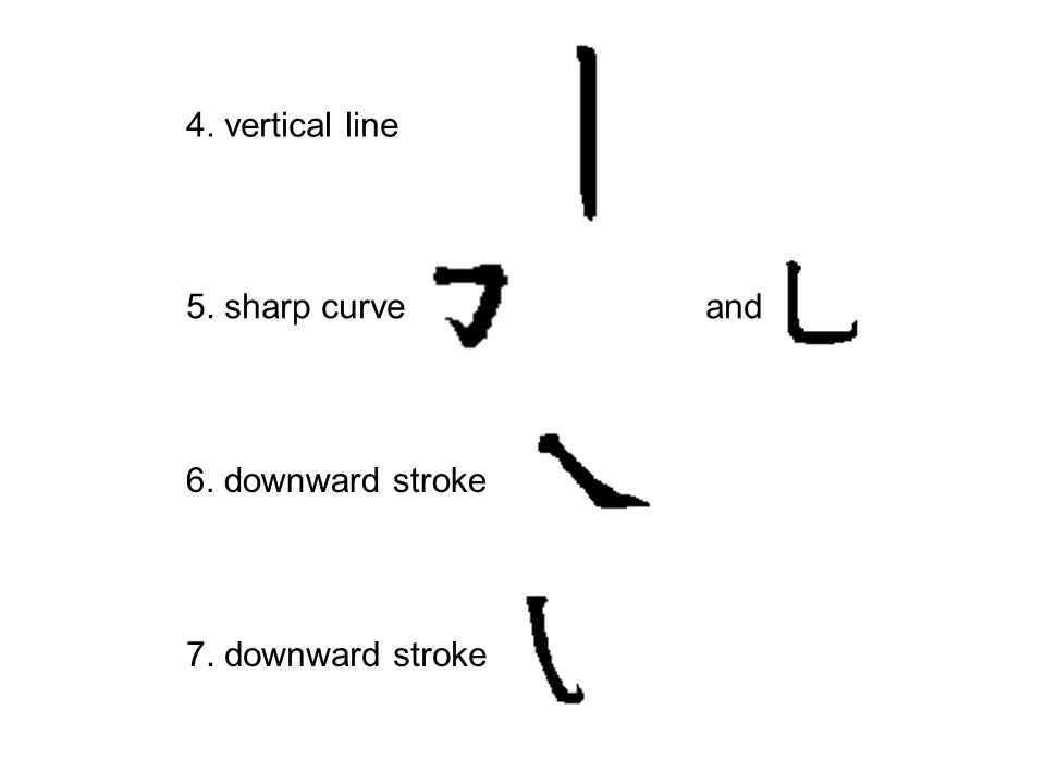 4. vertical line 5. sharp curve and 6. downward stroke 7. downward stroke