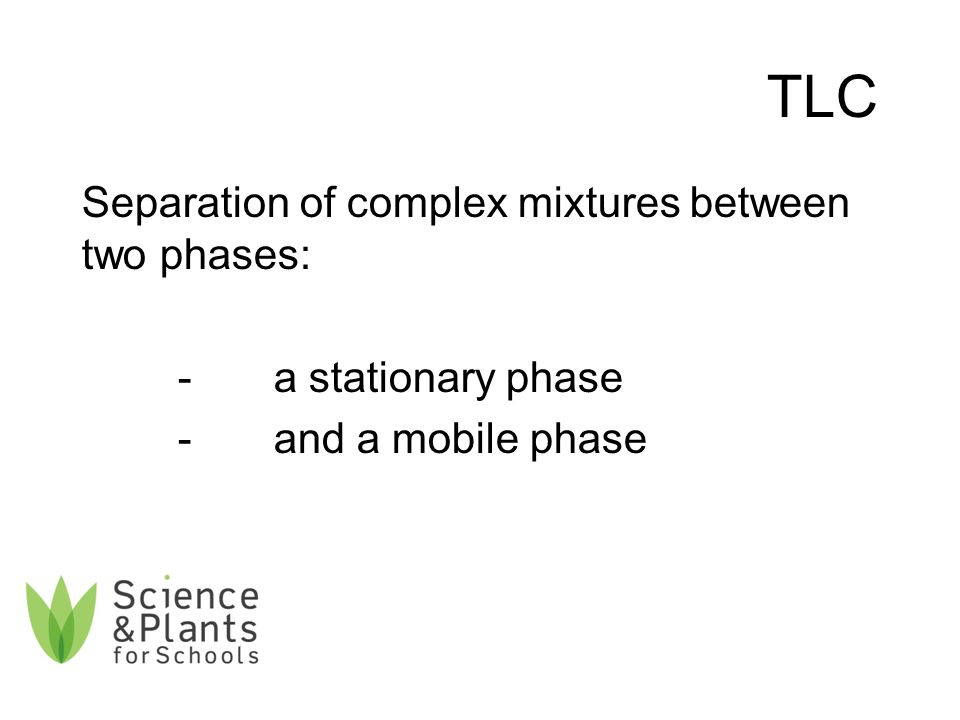 TLC Separation of complex mixtures between two phases: -a stationary phase -and a mobile phase