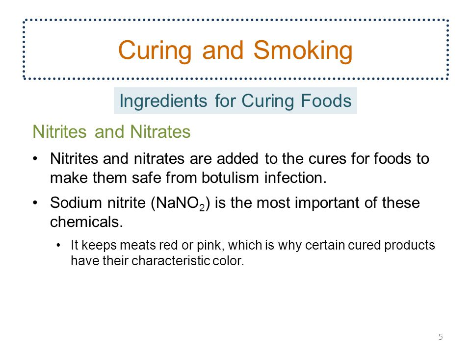 Curing and Smoking Nitrites and Nitrates Nitrites and nitrates are added to the cures for foods to make them safe from botulism infection.