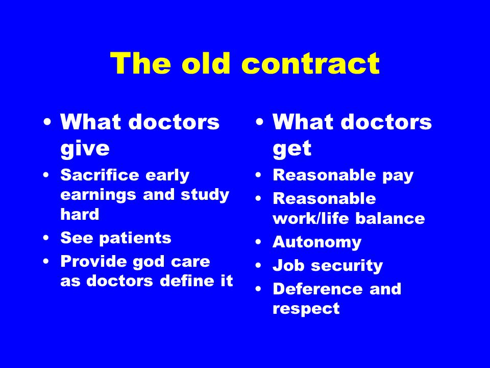 The old contract What doctors give Sacrifice early earnings and study hard See patients Provide god care as doctors define it What doctors get Reasona