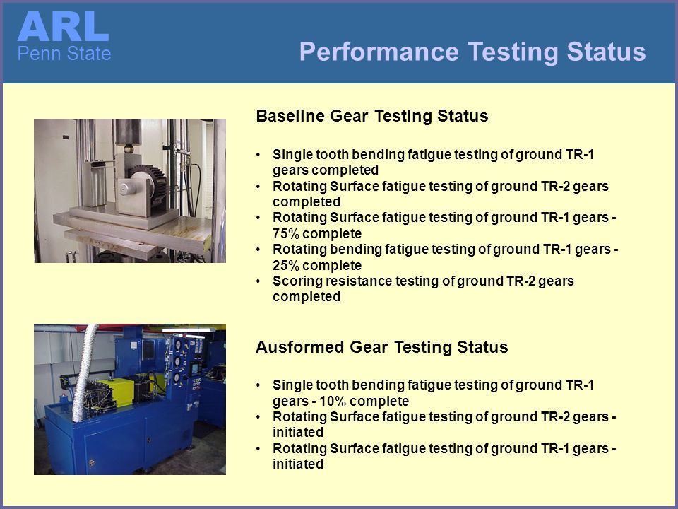ARL Penn State Performance Testing Status Baseline Gear Testing Status Single tooth bending fatigue testing of ground TR-1 gears completed Rotating Surface fatigue testing of ground TR-2 gears completed Rotating Surface fatigue testing of ground TR-1 gears - 75% complete Rotating bending fatigue testing of ground TR-1 gears - 25% complete Scoring resistance testing of ground TR-2 gears completed Ausformed Gear Testing Status Single tooth bending fatigue testing of ground TR-1 gears - 10% complete Rotating Surface fatigue testing of ground TR-2 gears - initiated Rotating Surface fatigue testing of ground TR-1 gears - initiated