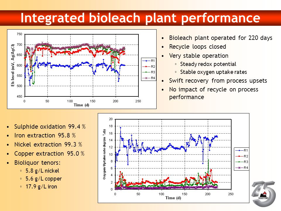 Integrated bioleach plant performance Bioleach plant operated for 220 days Recycle loops closed Very stable operation ◦Steady redox potential ◦Stable