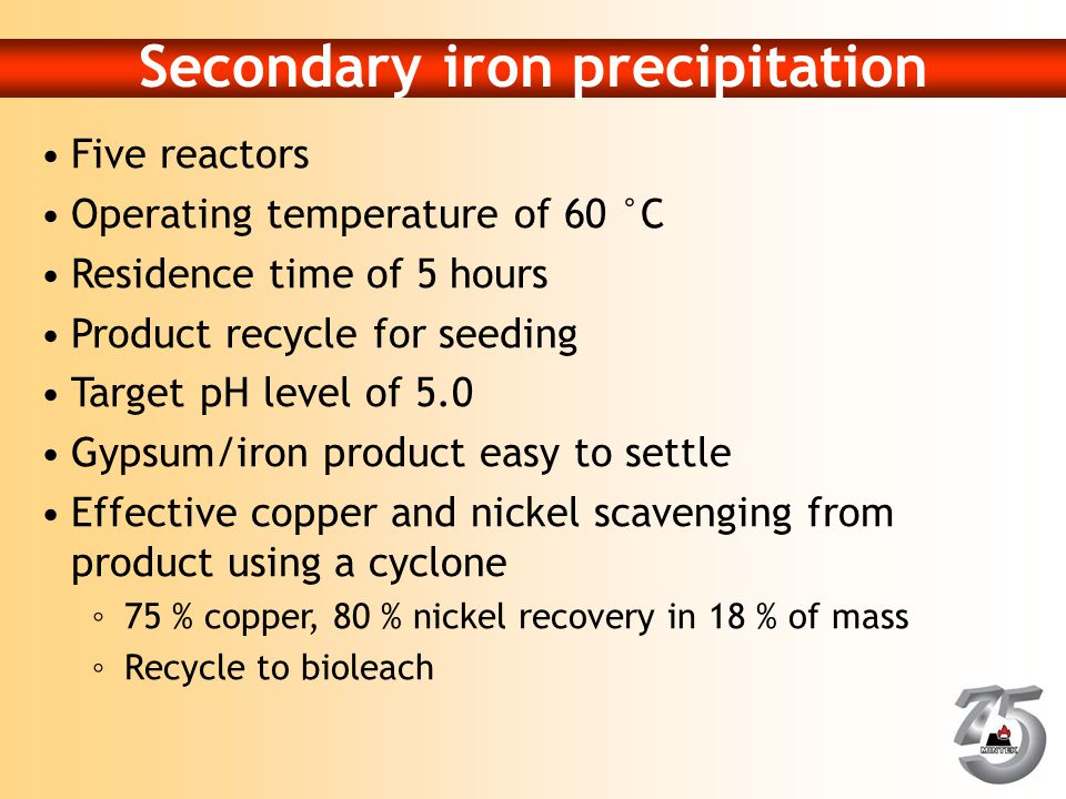 Secondary iron precipitation Five reactors Operating temperature of 60 °C Residence time of 5 hours Product recycle for seeding Target pH level of 5.0