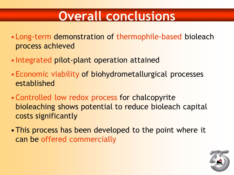 Overall conclusions Long-term demonstration of thermophile-based bioleach process achieved Integrated pilot-plant operation attained Economic viabilit