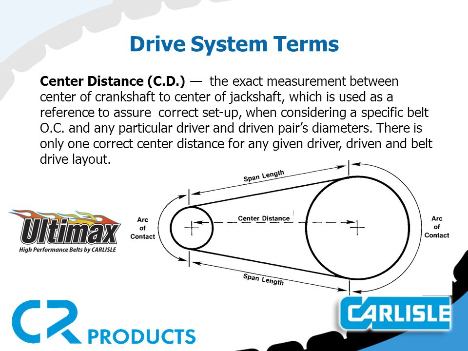 Drive System Terms Center Distance (C.D.) — the exact measurement between center of crankshaft to center of jackshaft, which is used as a reference to assure correct set-up, when considering a specific belt O.C.