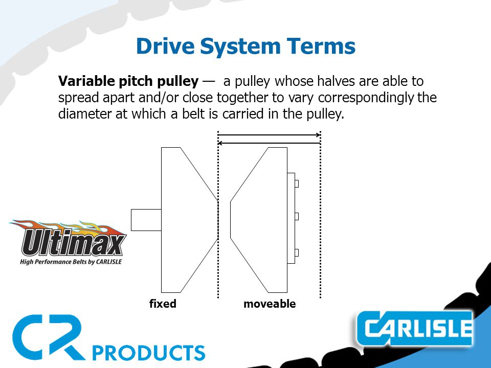 Drive System Terms Variable pitch pulley — a pulley whose halves are able to spread apart and/or close together to vary correspondingly the diameter at which a belt is carried in the pulley.