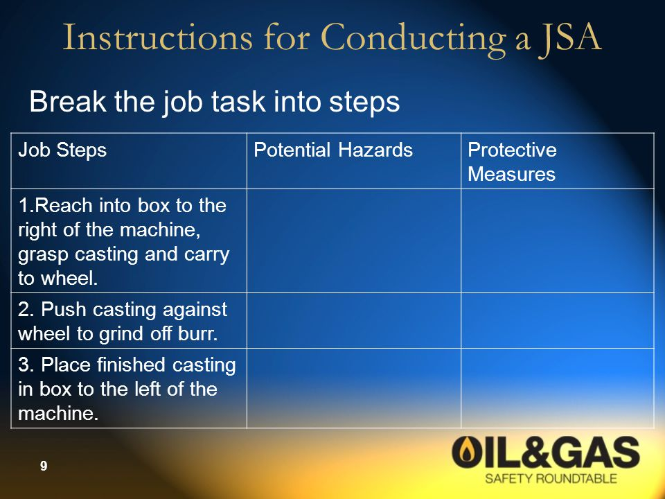 9 Instructions for Conducting a JSA Break the job task into steps Job StepsPotential HazardsProtective Measures 1.Reach into box to the right of the m