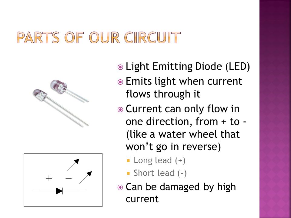  Light Emitting Diode (LED)  Emits light when current flows through it  Current can only flow in one direction, from + to - (like a water wheel that won't go in reverse)  Long lead (+)  Short lead (-)  Can be damaged by high current