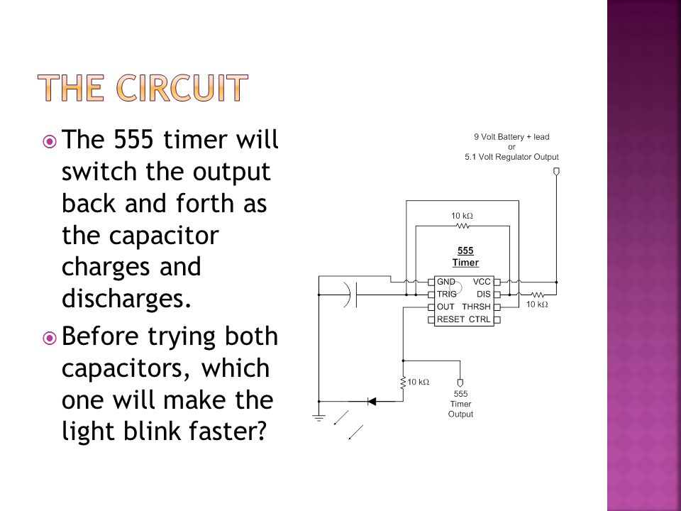  The 555 timer will switch the output back and forth as the capacitor charges and discharges.