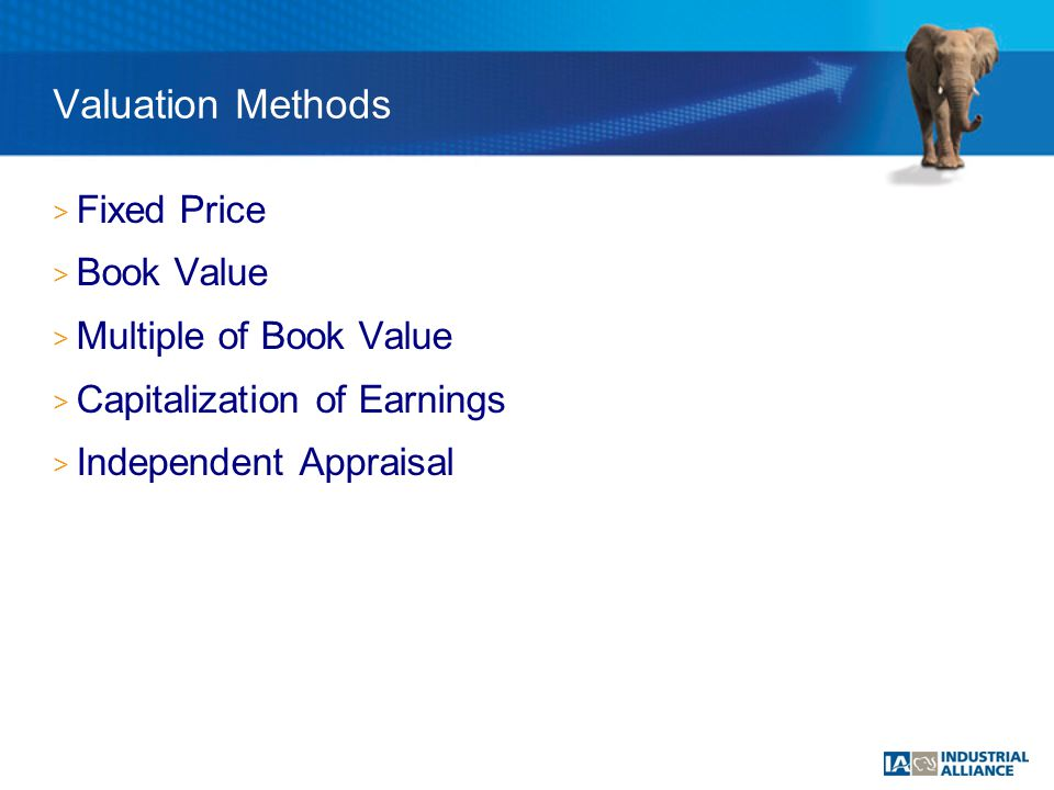 > Fixed Price > Book Value > Multiple of Book Value > Capitalization of Earnings > Independent Appraisal Valuation Methods