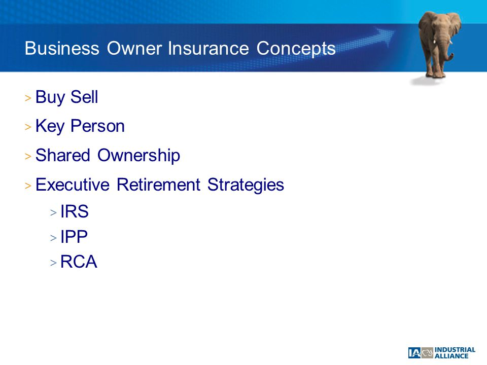 > Buy Sell > Key Person > Shared Ownership > Executive Retirement Strategies > IRS > IPP > RCA Business Owner Insurance Concepts
