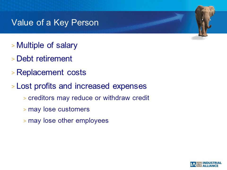 > Multiple of salary > Debt retirement > Replacement costs > Lost profits and increased expenses > creditors may reduce or withdraw credit > may lose customers > may lose other employees Value of a Key Person