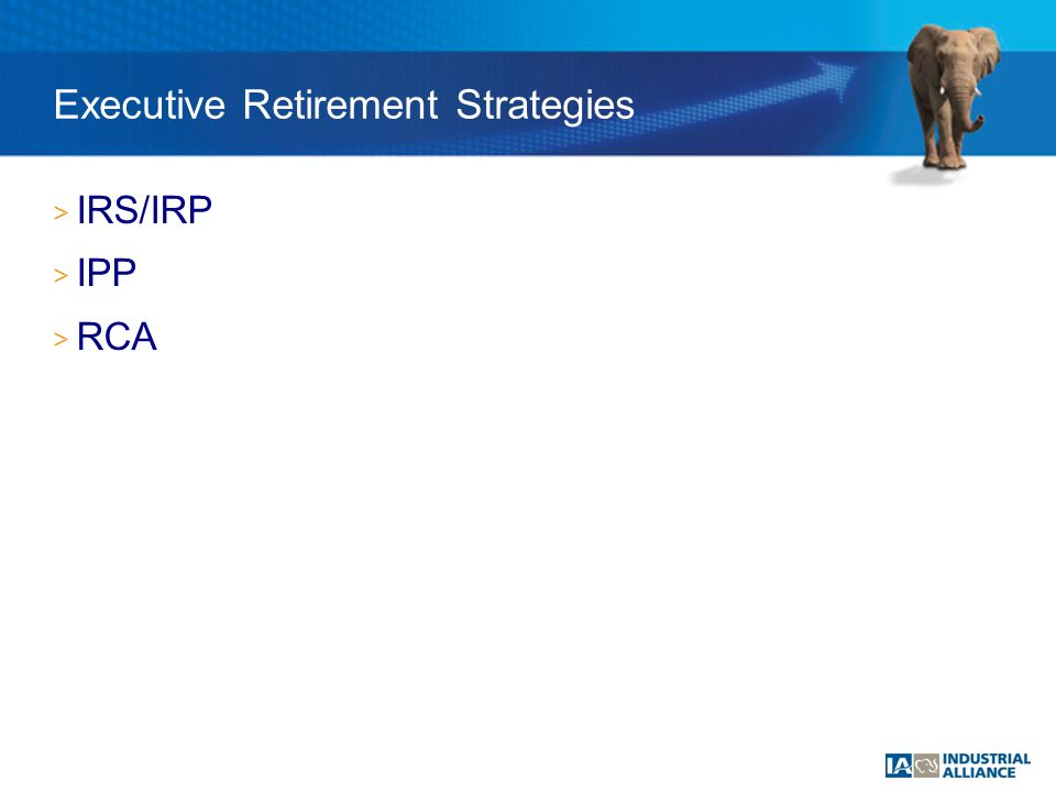 Executive Retirement Strategies > IRS/IRP > IPP > RCA