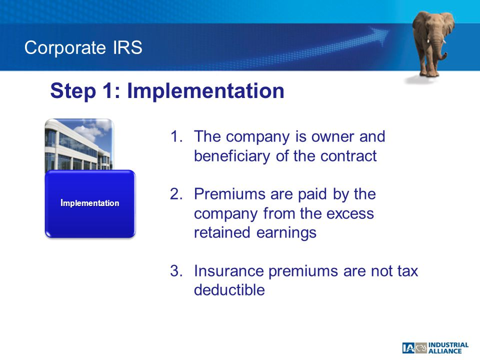 I mplementation Step 1: Implementation 1.The company is owner and beneficiary of the contract 2.Premiums are paid by the company from the excess retained earnings 3.Insurance premiums are not tax deductible Corporate IRS
