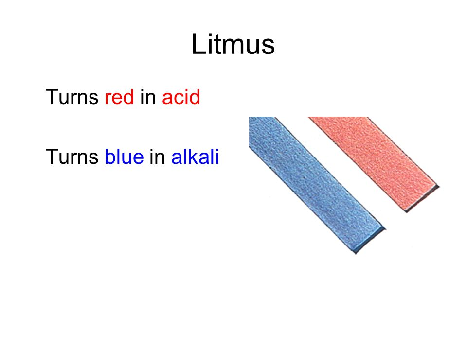 Litmus Turns red in acid Turns blue in alkali