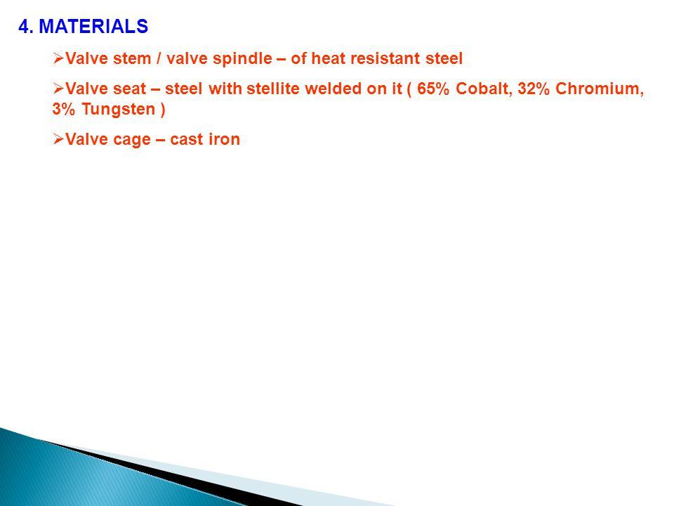 4. MATERIALS  Valve stem / valve spindle – of heat resistant steel  Valve seat – steel with stellite welded on it ( 65% Cobalt, 32% Chromium, 3% Tun